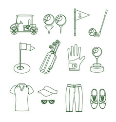 golf equipment thin line set vector image vector image