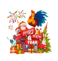 Happy New Year 2017 banner with Santa Claus and vector image
