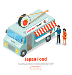 Japan or chinese food truck isometric projection vector