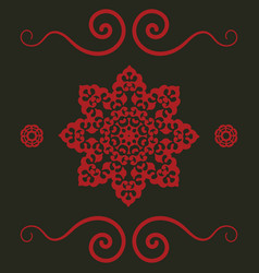 mandala pattern in red color vintage decorative vector image