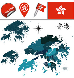 Map of hong kong with districts vector