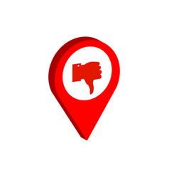 Map pointer with thumb down symbol flat isometric vector