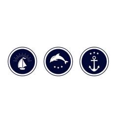 Maritime emblem icon vector
