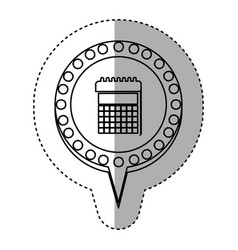 monochrome sticker with calendar and circular vector image