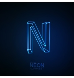 Neon 3D letter N vector image
