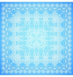 Ornate lacy blue and white ornament vector image