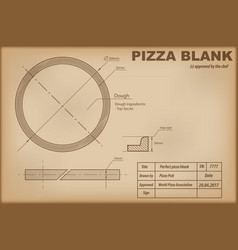 Perfect pizza blank draw scheme vector