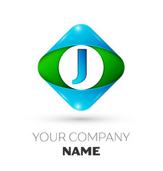 Realistic letter j logo in colorful rhombus vector