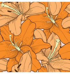 seamless background orange lilies hand-drawing vector image vector image