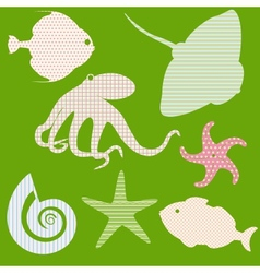 Set 3 of fish silhouettes with simple patterns vector image vector image