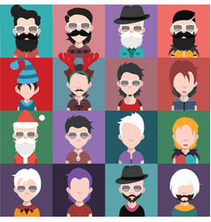 set of avatars a vector image