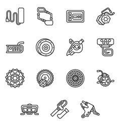 Simple line icons for e-bike parts vector