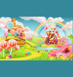 sweet candy land cartoon game background 3d vector image vector image