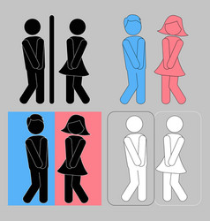 wc sign boy and girl toilet icons vector image vector image