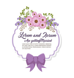 Wedding invitation floral frame vector