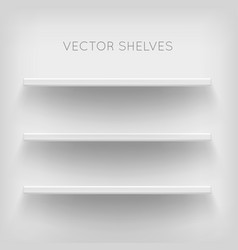 white shelves on white background vector image