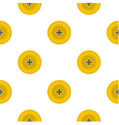 Yellow round sewing button pattern flat vector