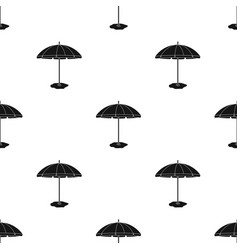 Yelow-green beach umbrella icon in black style vector