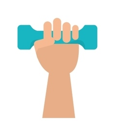 Hand holding single dumbell icon vector
