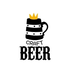 Craft Beer Logo Design Template With Crown vector image