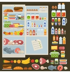 Refrigerator and set of food vector image