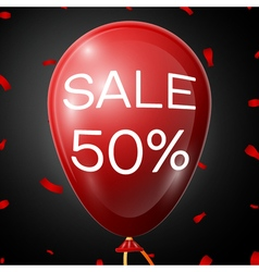 Red baloon with 50 percent discounts over black vector