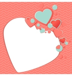 Pink and blue paper hearts for scrapbooking design vector