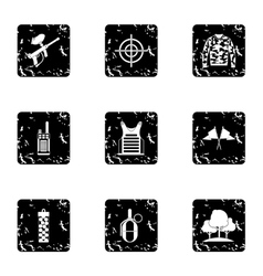 Competition paintball icons set grunge style vector