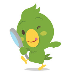 parrot character with magnifying vector image