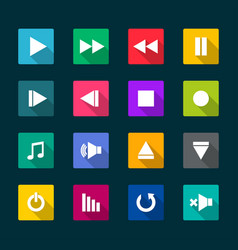 Set of media player flat icons vector