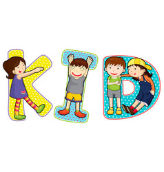 Font design for word kid vector
