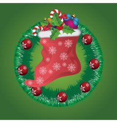 Christmas wreath with santa sock vector