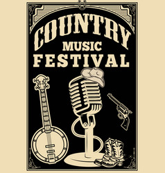 Country music festival poster old style vector