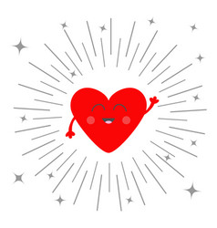Red heart face head with hands valentines day vector