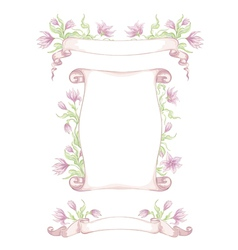 Set of hand drawn ribbons with tender flowers vector