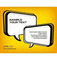 White speech bubbles on yellow vector image