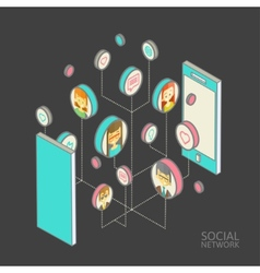 Conceptual image with social networks flat vector
