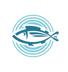 Fish logo template round background sign vector