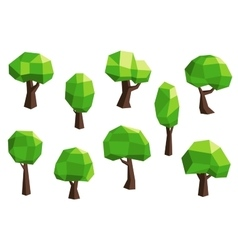 Green abstract polygonal tree icons vector