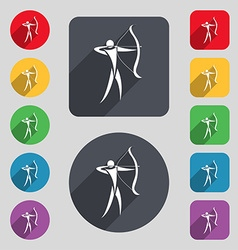 Archery icon sign a set of 12 colored buttons and vector