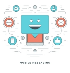 Flat line mobile messaging concept vector