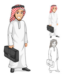 Middle eastern man businessman holding bag cartoon vector