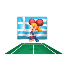 A cheerdancer in front of the flag of Greece vector image