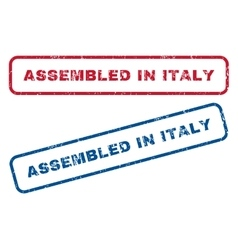 Assembled in italy rubber stamps vector
