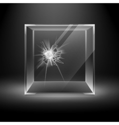 Broken Glass Box Cube Isolated on Black Background vector image