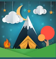 Cartoon paper landscape tree mountain fire vector