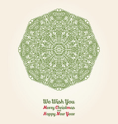Christmas and new year card with ornamental vector