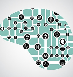circuit board with app icons in human brain vector image vector image
