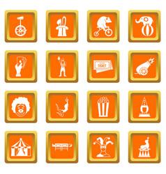 circus entertainment icons set orange vector image vector image