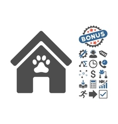 Doghouse flat icon with bonus vector